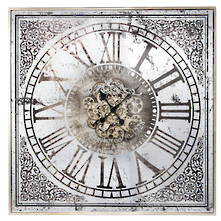 82CMSQ SQUARE PATTERN CORNERS COG WALL CLOCK