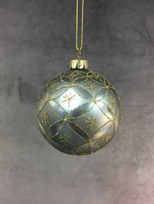 8CMD AGED BLUE GLASS BALL WITH GOLD PATTERN