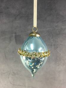 BLUE OPALESCENT GLASS FINIAL WITH DIAMANTE BAND