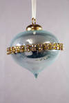 BLUE OPALESCENT GLASS ONION WITH DIAMANTE BAND