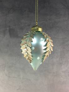 BLUE OPALESCENT GLASS ONION WITH INLAID FERN