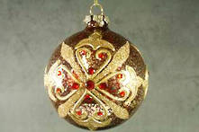 ANTIQUED RED/GOLD GLASS BALL WITH JEWELS