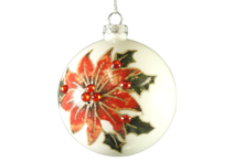 8CMD WHITE GLASS BALL WITH POINSETTIA (6)
