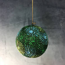 80MM RESIN BAUBLE GREEN/BLUE TONES