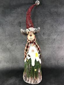 46CMH TREE TRUNK DEER WITH RED HAT
