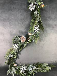 180CML FROSTED PINE, BIRD AND SNOWFLAKE GARLAND