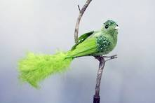GREEN  VELVET AND FEATHER BIRD ON CLIP