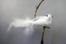 WHITE  VELVET AND FEATHER BIRD ON CLIP