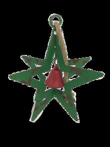 AGED GREEN METAL HANGING STAR