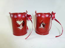 SET 2 HEART, STAR TIN TEALIGHT HOLDER