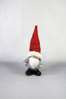 SMALL GREY CERAMIC SANTA WITH RED WOOLLEN HAT