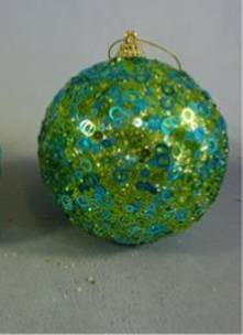 GREEN BAUBLE W/ BLUE SEQUINS