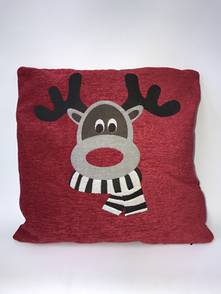 RED CUSHION WITH DEER HEAD - INCLUDES INNER