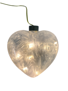 WHITE ICE GLASS LED HEART