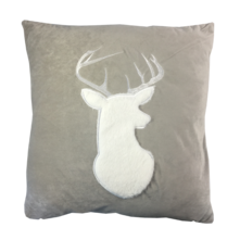 GREY VELVET WHITE DEER CUSHION