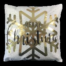 MERRY CHRISTMAS GOLD SNOWFLAKE CUSHION