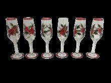 SET6 POINSETTIA CHAMPAGNE GLASS