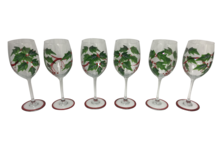 SET6 HOLLY GARLAND RED WINE GLASSES