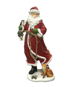 CERAMIC SANTA WITH OWL & FOX