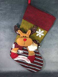 VERY LARGE DEER 'MERRY CHRISTMAS'  STOCKING