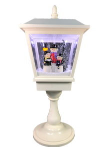 64CMH TABLETOP WHITE SNOWING LANTERN