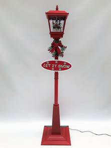 180CMH RED STREET LAMP WITH BLOWING SNOW AND MUSIC