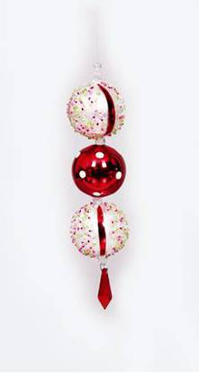 RED & WHITE 3 BALL HANGING DEC