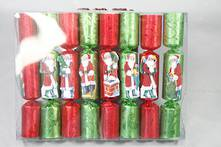 15CM BOX 8 RED/GREEN SANTA COCKTAIL CRACKERS
