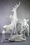 SET 3 LARGE GLOSS WHITE CUBIC DEER