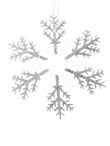 30CMD CLEAR/SILVER ACRYLIC SNOWFLAKE