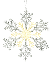 25CMD CLEAR/GOLD ACRYLIC SNOWFLAKE