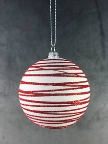 RED/WHITE SWIRL PLASTIC BALL HANGER