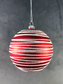 WHITE/RED SWIRL PLASTIC BALL HANGER