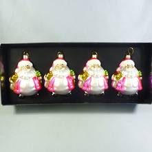 SET4 METALLIC PINK GLASS SANTAS