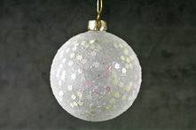 8CMD WHITE GLASS BALL WITH PEARLESCENT STARS
