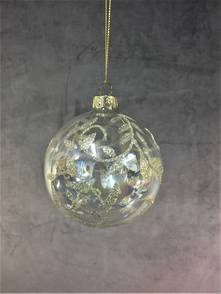 8CMD CLEAR GLASS BALL WITH CHAMPAGNE LEAF PATTERN