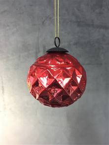 8CMD RED DIAMOND PATTERN GLASS BALL (6)