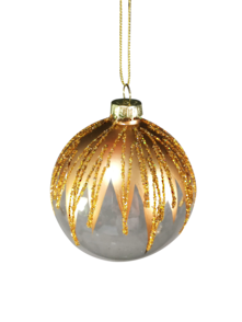 CLEAR GLASS BALL WITH GOLD TOP (6)