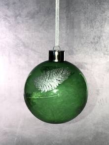 GREEN GLASS BALL WITH SILVER FEATHER