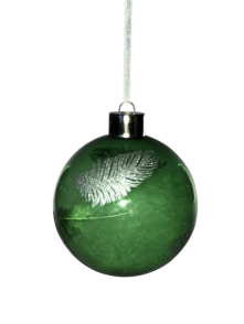 GREEN GLASS BALL WITH SILVER FEATHER (6)