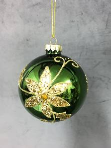 GREEN GLASS BALL WITH GOLD FLOWER (6)