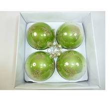 SET4 FADED GREEN GLASS BAUBLE