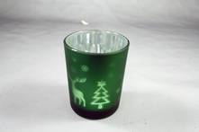 DARK GREEN TEALIGHT HOLDER WITH TREE AND DEER DESIGN