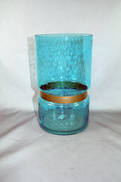 25CMH AQUA WITH GOLD BAND VASE