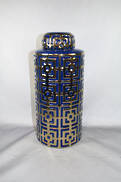 BLUE/GOLD LIDDED VASE