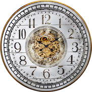 82CMD ROUND COG WALL CLOCK WITH ENGLISH NUMBERS