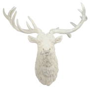 WHITE RESIN DEER HEAD WALL ART