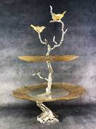 2 TIER GLASS PLATE BIRDS ON BRANCH STAND