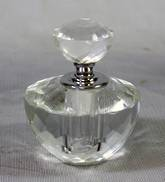 SMALL ROUND CUT CRYSTAL PERFUME BOTTLE