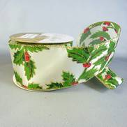 CREAM HOLLY SATIN RIBBON